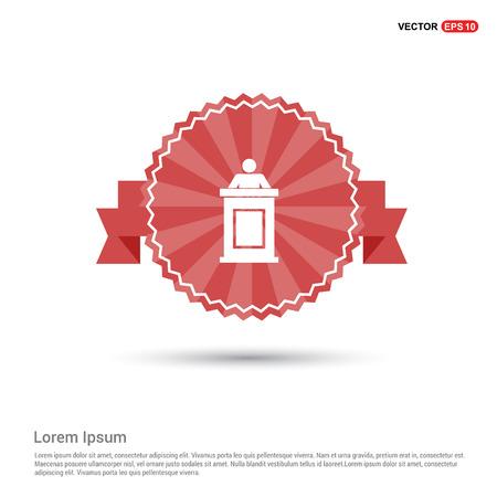 Speaker at rostrum icon - Red Ribbon banner Stock Illustratie
