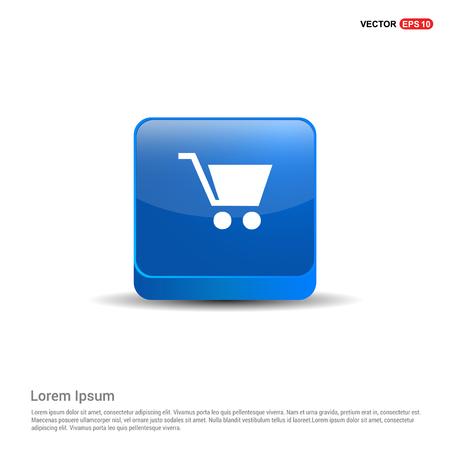Shopping cart icon - 3d Blue Button.