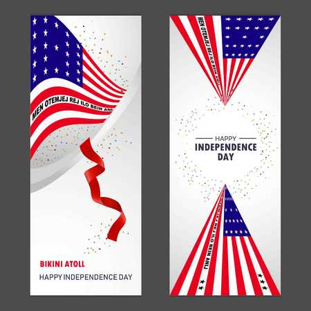 Bikini Atoll Happy independence day Confetti Celebration Background Vertical Banner set Stock Illustratie