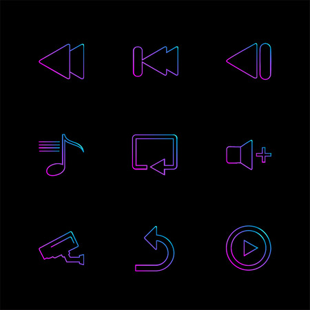 multimedia , play,  pause , volume , sound , microphone , reset , mute , camera, camcoder , video , icon, vector, design,  flat,  collection, style, creative,  icons Illustration