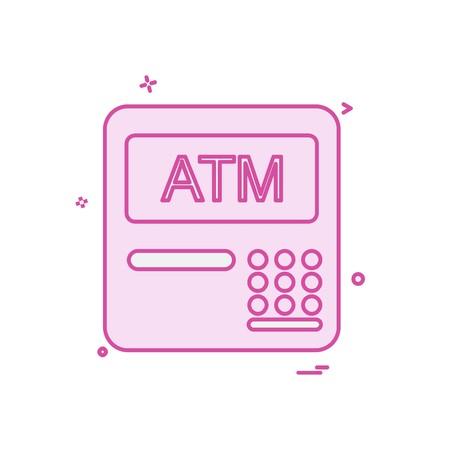 ATM machine icon design vector Çizim