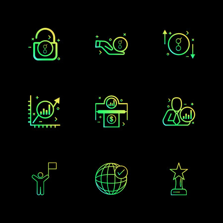 golem , coin , star , trophy , graph , corporate , money , rate , unlock , icon, vector, design,  flat,  collection, style, creative,  icons Illustration