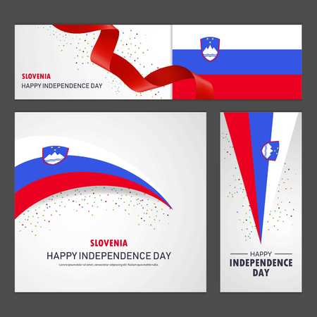 Happy Slovenia independence day Banner and Background Set