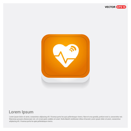 Ecg icon Orange Abstract Web Button - Free vector icon Illustration