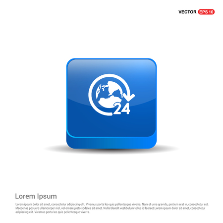 24 hours worldwide service icon - 3d Blue Button.
