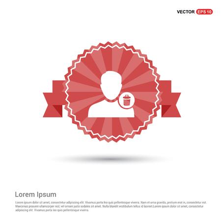 Delete user icon. - Red Ribbon banner Illustration