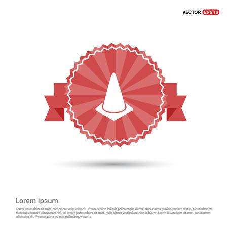 Cone Icon - Red Ribbon banner Illustration