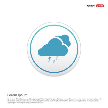 Cloud Lightening Icon - white circle button Vecteurs