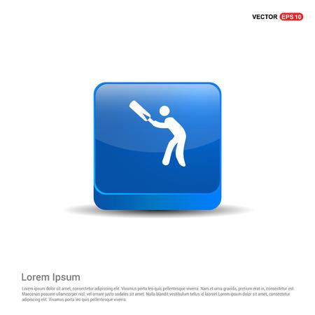 Batsman Icon - 3d Blue Button. Ilustração