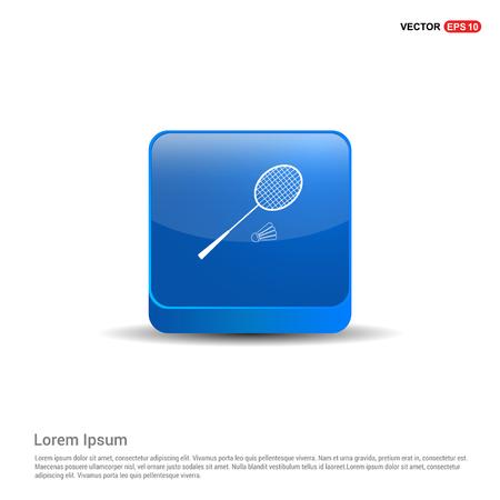 Racket Shuttlecock Icon - 3d Blue Button.