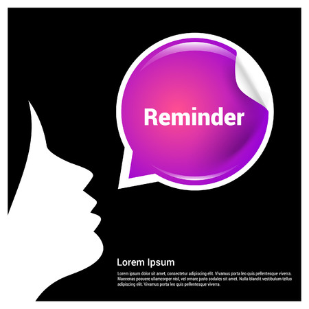 Chat bubble with reminder typographic design vector
