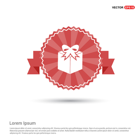 Gift Box Icon - Red Ribbon banner