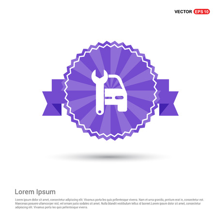 Car Repair Icon - Purple Ribbon banner Archivio Fotografico - 114448588