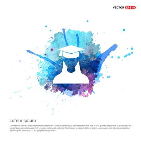 Education User Icon - Watercolor Background