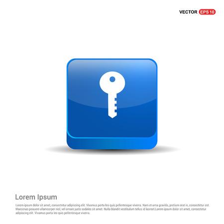 Key Icon - 3d Blue Button.