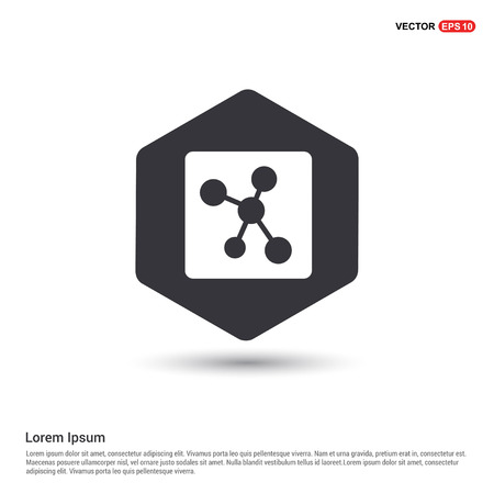 connection of cells molecule icon Hexa White Background icon template - Free vector icon