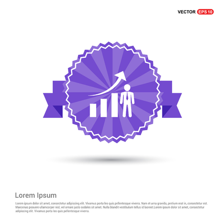 Business Man with Growing graph Icon - Purple Ribbon banner Illustration