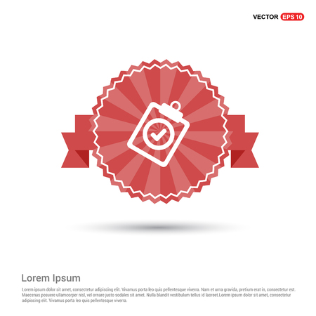 Check List Icon - Red Ribbon banner Illustration