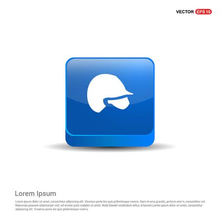 Cricket Helmet Icon - 3d Blue Button.