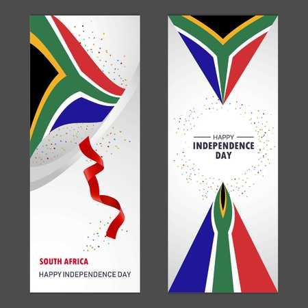 South Africa Happy independence day Confetti Celebration Background Vertical Banner set Illustration
