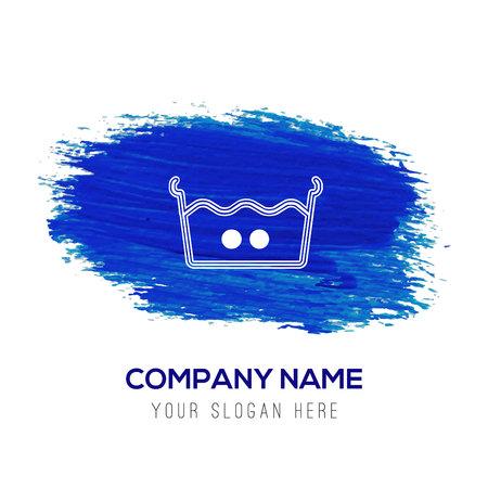 Icône de symboles de blanchisserie - fond aquarelle bleu Vecteurs