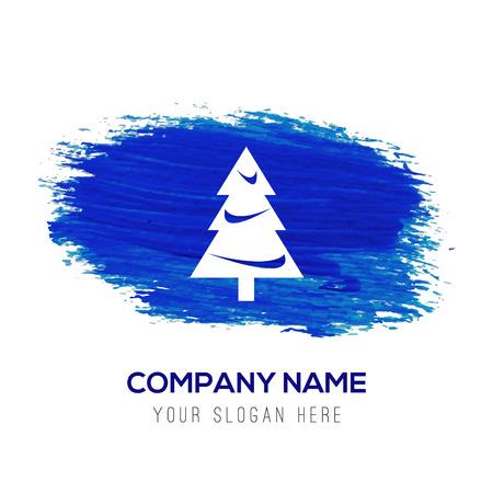 X-Mas Tree Icon - Blue watercolor background