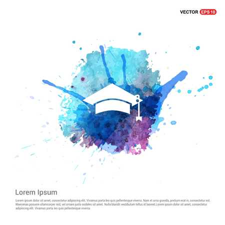 Education simple Icon - Watercolor Background