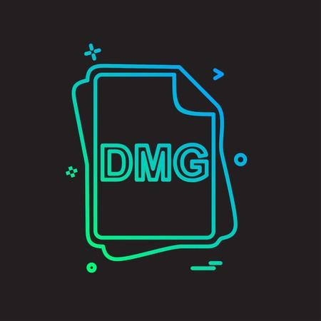 DMG file type icon design vector