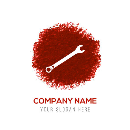 wrench Icon - Red WaterColor Circle Splash