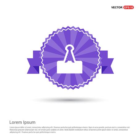 Attach Paper Icon - Purple Ribbon banner Stock Vector - 115031681
