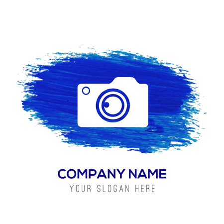 Photo camera icon - Blue watercolor background
