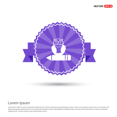 Owl Icon - Purple Ribbon banner Ilustração