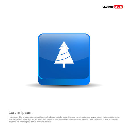 X-Mas Tree Icon - 3d Blue Button.