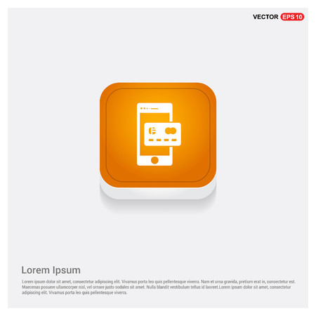 Mobile and Credit card icon Orange Abstract Web Button - Free vector icon Ilustracja