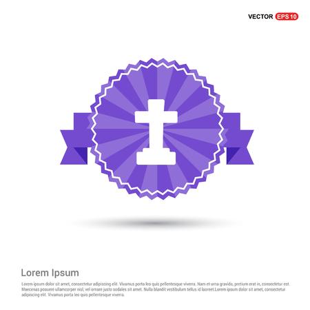 Halloween Grave Cross icon - Purple Ribbon banner
