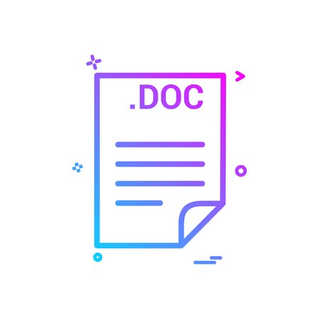 DOC application download file files format icon vector design