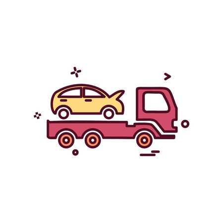 Auto insurance car tow truck icon vector design