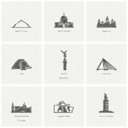 Vector de diseño de monumentos famosos del mundo