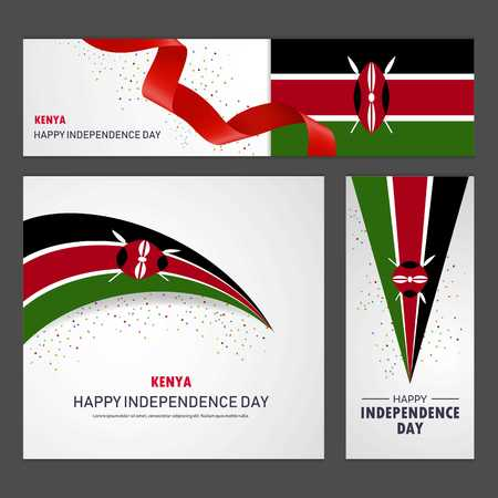 Happy Kenya independence day Banner and Background Set  イラスト・ベクター素材