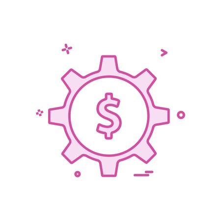 gear money dollar icon vector design