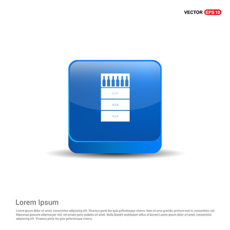 Bottles on bar counter icon - 3d Blue Button. Stock Illustratie