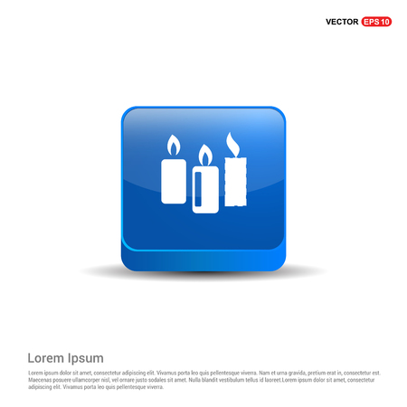 Candle Icon - 3d Blue Button.