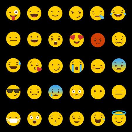 Emoji icons set vector