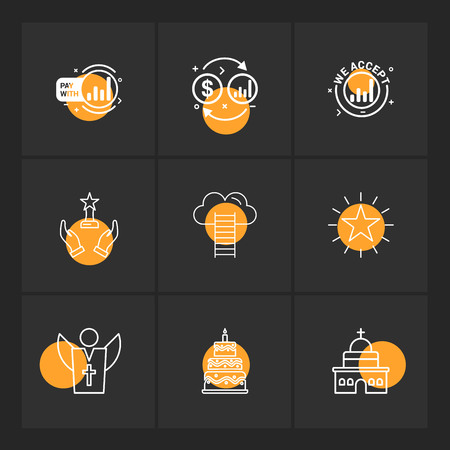 dollar, money, star , church , cake , father ,help , ladders ,icon, vector, design, flat, collection, style, creative, icons
