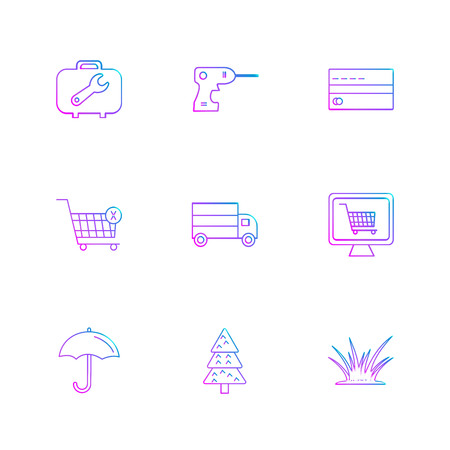 breifcase , drill machine , card , cart , truck , online shopping,  umbrella , tree , grass, icon, vector, design,  flat,  collection, style, creative,  icons Banque d'images - 113528266