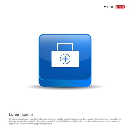 Zestaw medyczny ikona - 3d niebieski przycisk. Ilustracje wektorowe