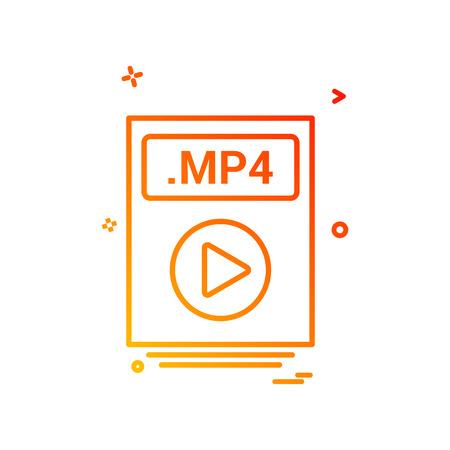file files mp4 icon vector design Vektoros illusztráció