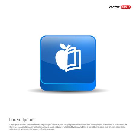 Book and apple icon - 3d Blue Button.
