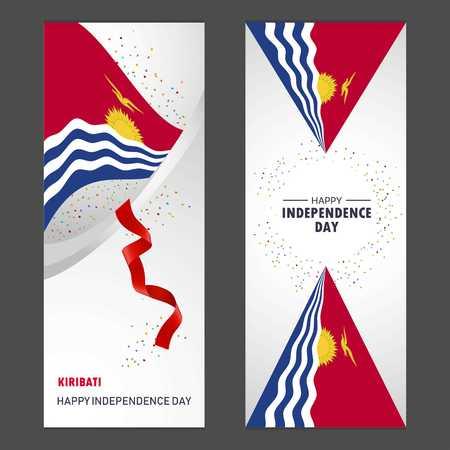 Kiribati Happy independence day Confetti Celebration Background Vertical Banner set Vektoros illusztráció