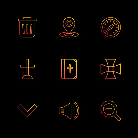 dustbin , navigation , compass,  church , bible,  cross , good , speaker, search , zoom out , icon, vector, design,  flat,  collection, style, creative,  icons Illustration
